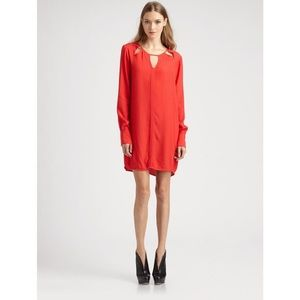 BCBG Red Mid Dress with Cut Out